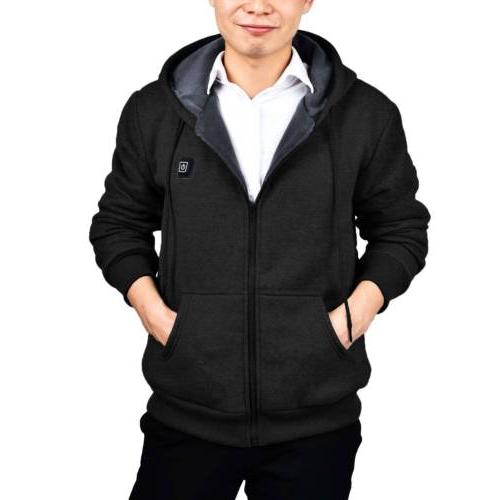Mens Sweater Heated Hoodie Thermal Slim Sweatshirt