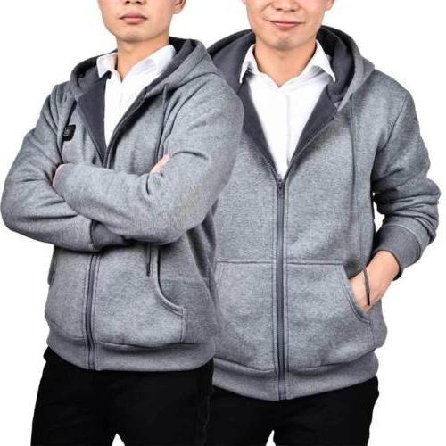 Mens Outwear Hoodie Thermal Coat Slim Hooded Sweatshirt US