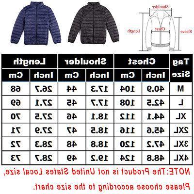 Mens Down Ultralight Puffer Jacket Zipper Stand Collar