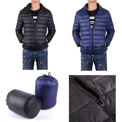 Mens Packable Jacket Ultralight Zipper Stand Collar