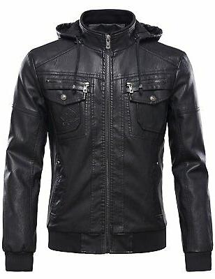 mens pu leather jacket with removable fur