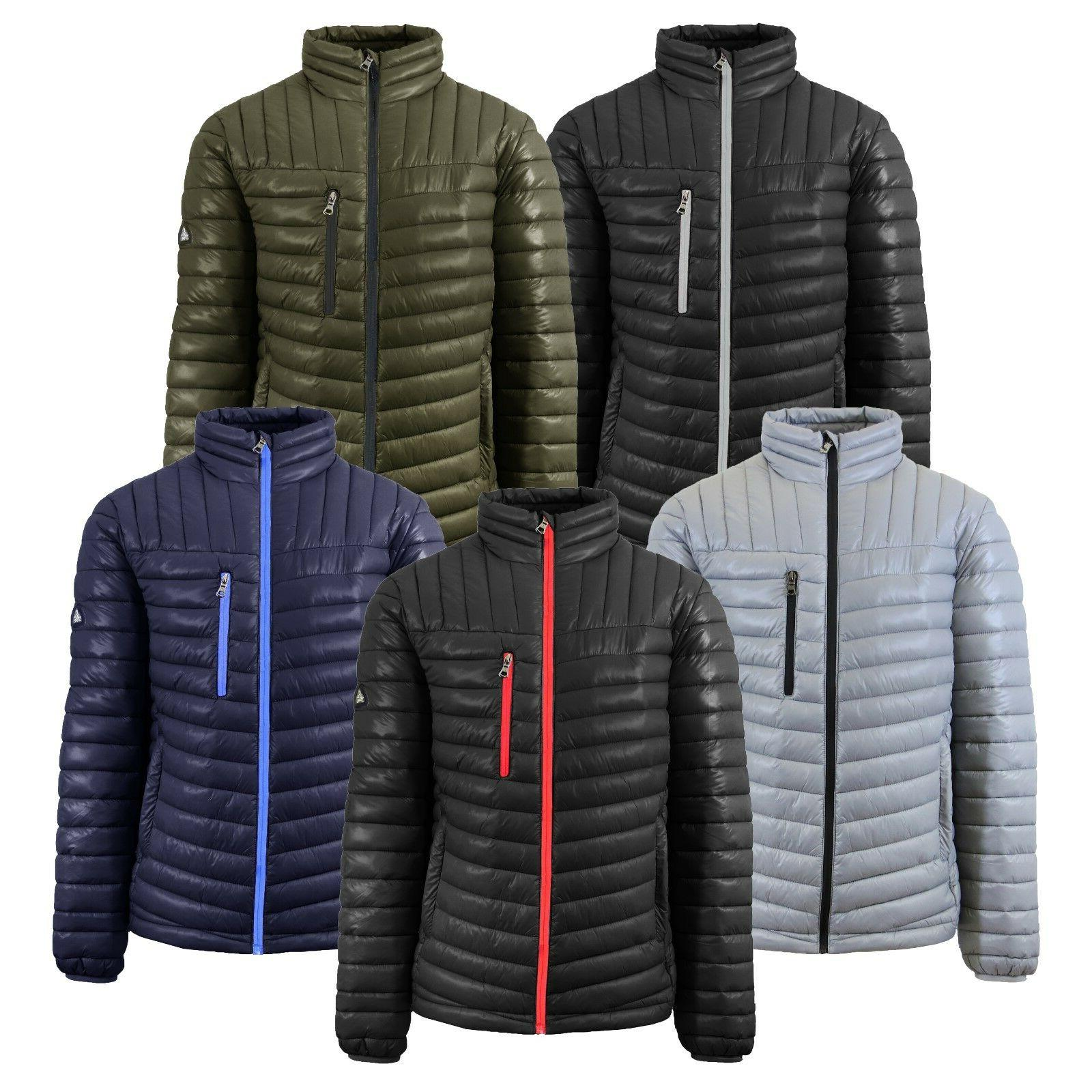 Mens Puffer Jacket Coat Outerwear Layer Cold Contrast Trim Z