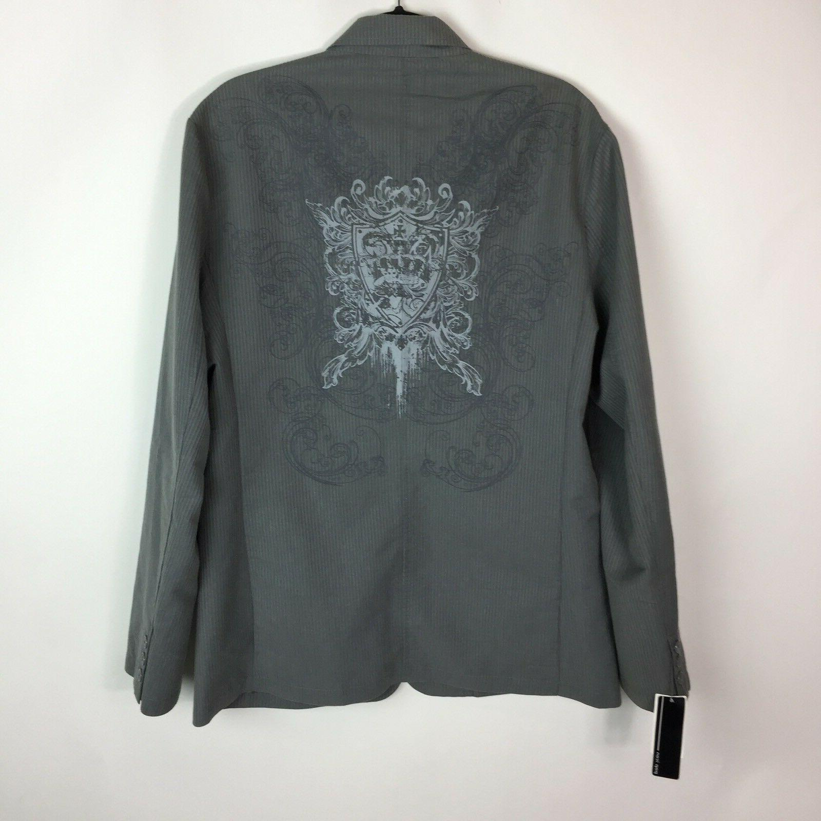 Pop Icon Large Gray Cotton Jacket NWT Embroidery
