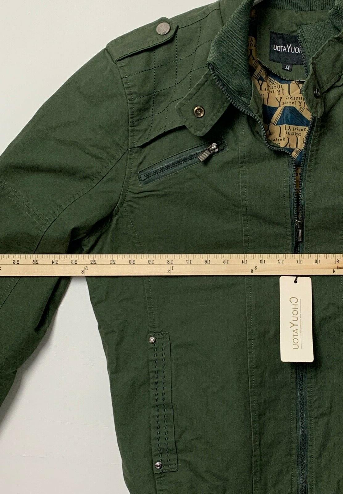 Chouyatou Mens Jacket Lined Army Green NWT