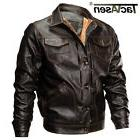 TACVASEN Mens Thick Leather Jacket Bomber Jacket Pilot  Army