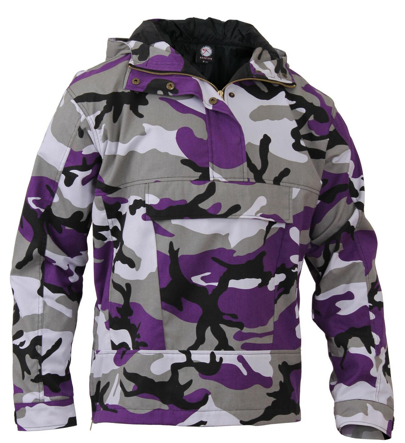 Mens Ultra Violet Camo Anorak Parka Jacket Coat Camouflage H
