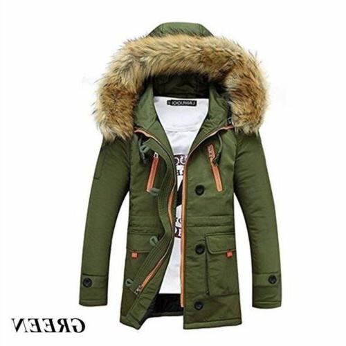 Mens Warm Jacket Cotton Coat Womens Windproof Parka Hooded W