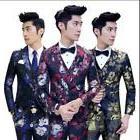 Mens Floral Print Slim Fit Coat Cool Jacket Vest Pant Suits