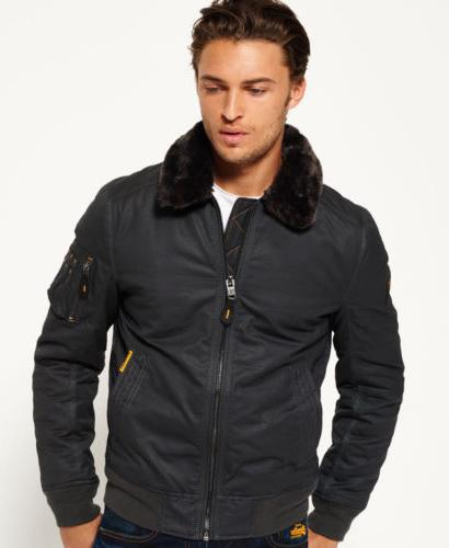 Mens Superdry Winter Flight Jacket Dark Grey Charcoal