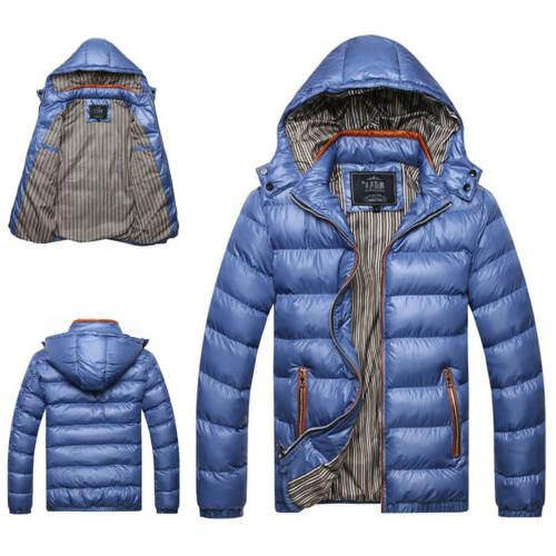 Mens Down Jacket Snow Thick Puffer Coat Parka