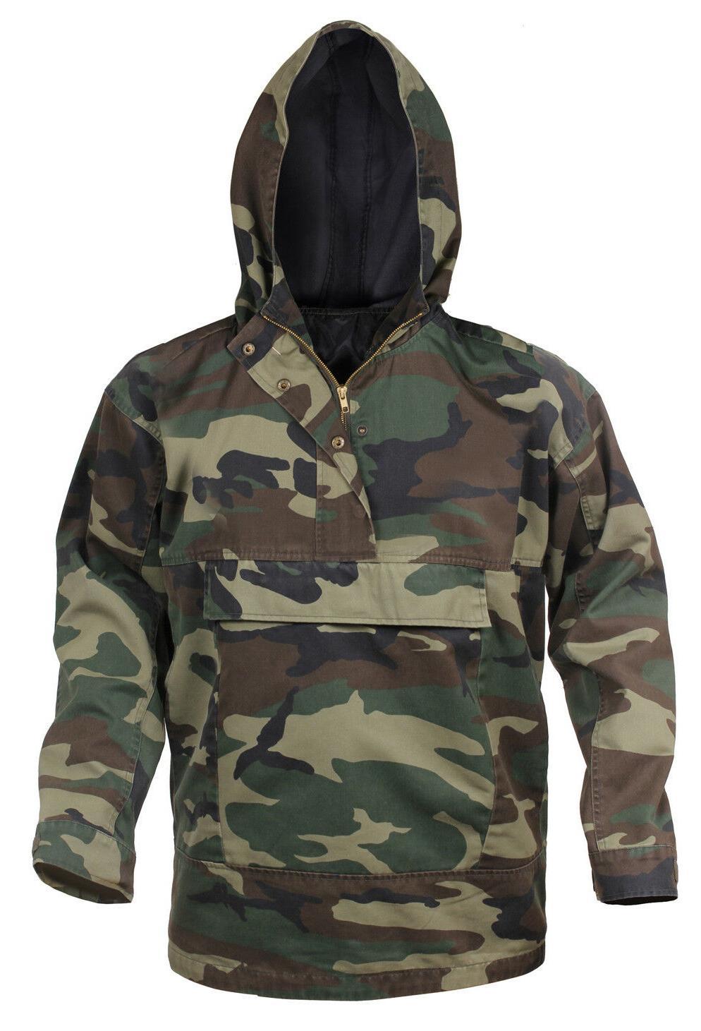 mens woodland camo anorak parka jacket coat