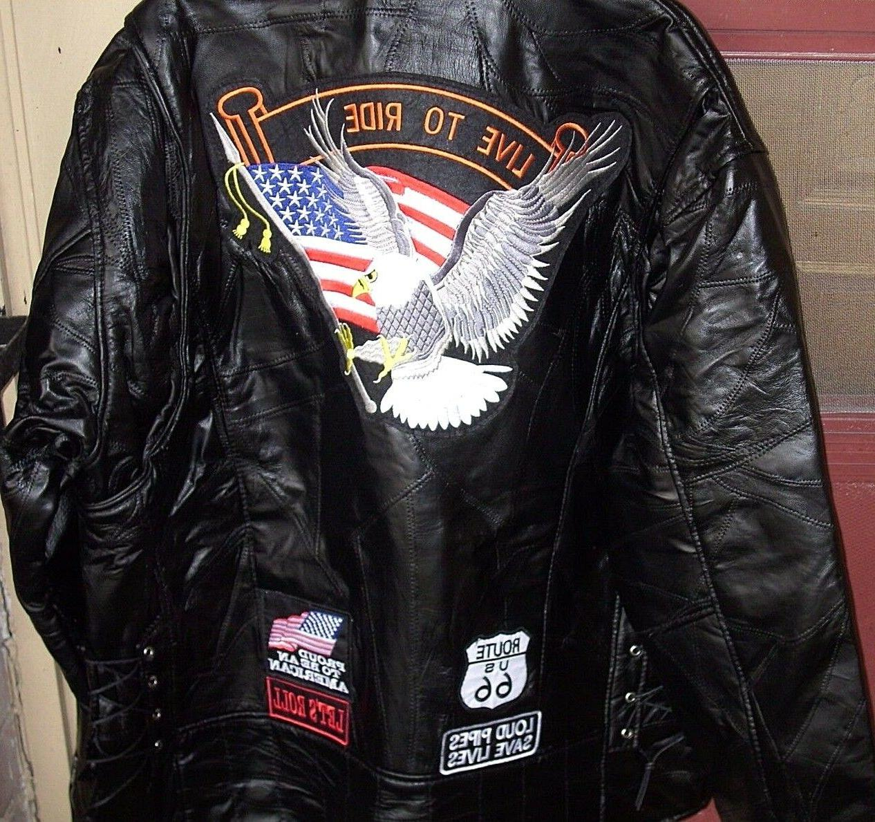 Motorcycle Jacket Men's Diamond Plate Rock Design Genuine Bu
