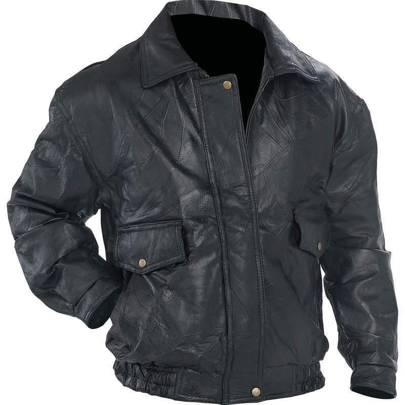 NWT Mens Black Leather Bomber Jacket Coat Bike Ride Cold S M