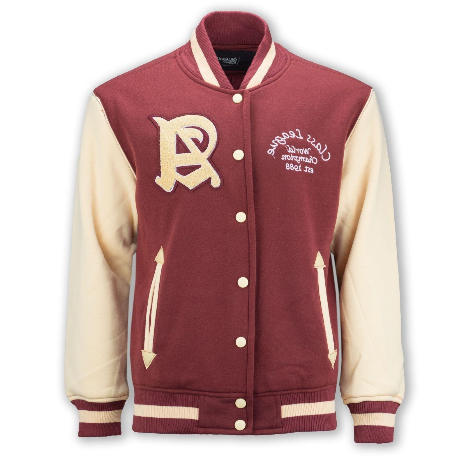 New Men Fleece Varsity Jacket Class League Red Tan 1988 Cham