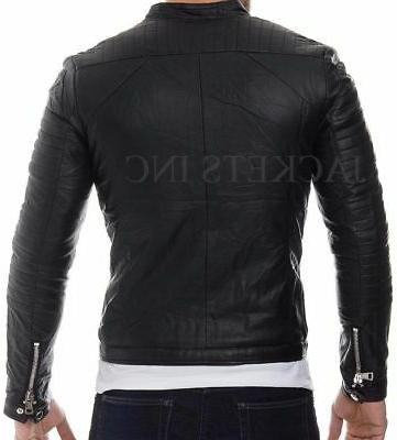New Men's Genuine CASUAL Leather Jacket Slim fit