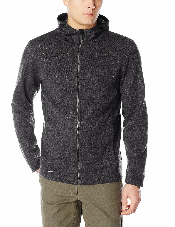 New ExOfficio Men's Kahve Thermal Full Zip Hoody Jacket Blac