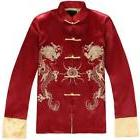 New Men's Kung Fu Party Jacket Coat Sz Embroidery Red Slim F