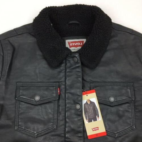 NEW Men's Faux Leather Jacket Black Medium
