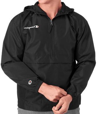 New Champion Half-Zip Hooded Black