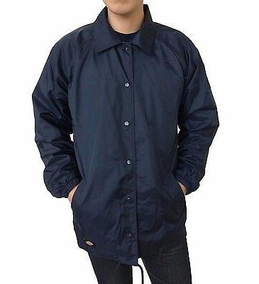 New Dickies Men's Rain Resistant Windbreaker Snap Front Nylo