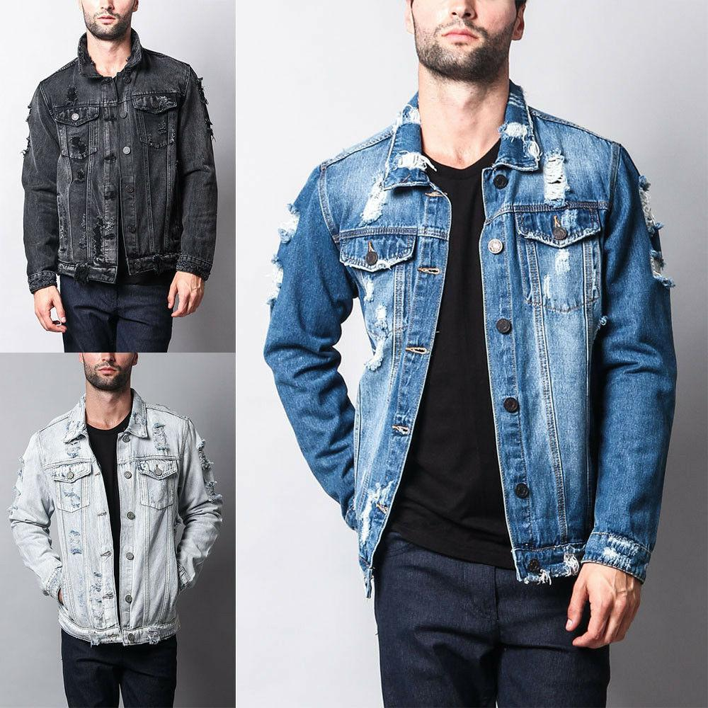 5e8d7e80a3b NWT Victorious Men s Wash Distressed Denim Jean Jacket