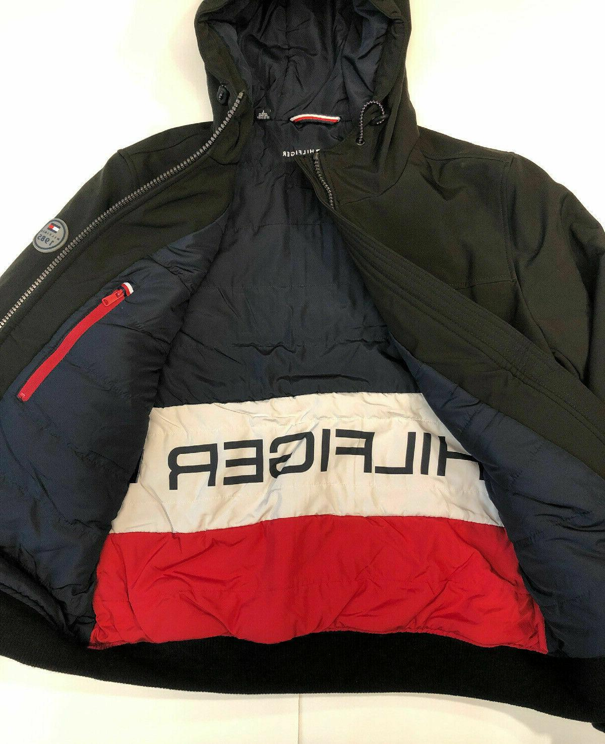 NWT Tommy Hilfiger Mens Hooded Soft-Shell Bomber Jacket Blac