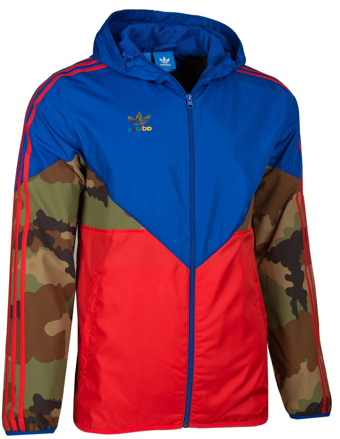 ADIDAS ORIGINALS CAMO MEN'S HOODED WINDBREAKER JACKET HIP-HO