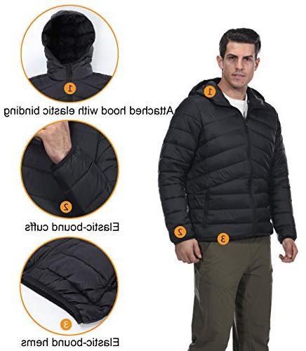 MIER Men's Hooded Puffer Lightweight Insulated Coat, Thinsulate YKK Black, S