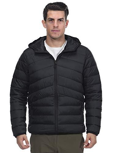 MIER Men's Puffer Jacket Insulated Thinsulate Filling, Zip, Black,