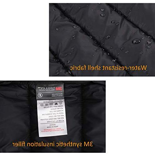 MIER Puffer Insulated Outerwear Thinsulate Filling, Black, S
