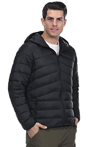 MIER Packable Puffer Water-Resistant Lightweight Insulated Outerwear Thinsulate Filling, YKK Black,