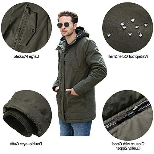 YsCube Mens Parka for Men for Down Parka Mens Outerwear Waterproof Practical Resistance Casual Parka-S