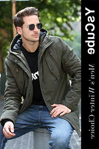 YsCube for Men for Mens Waterproof Resistance Casual Parka-S