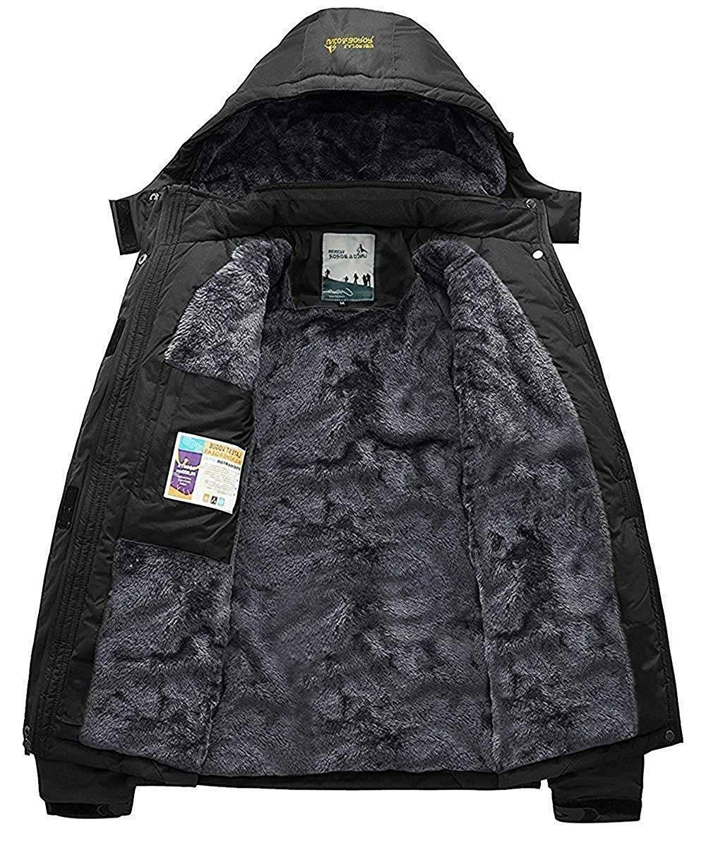 Pooluly Men's Waterproof Rain Jacket Fleece