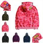 Popular Ape BAPE Men's Shark Jaw Camo Full Zipper Hoodie Swe