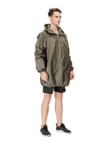 4ucycling Raincoat Rain Coat Jacket Poncho in a Pouch Army Lightweight
