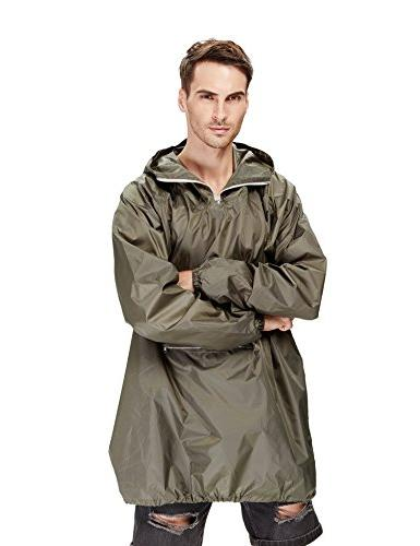 4ucycling Raincoat Easy Rain Coat Jacket in a Pouch Outdoor, Army Green