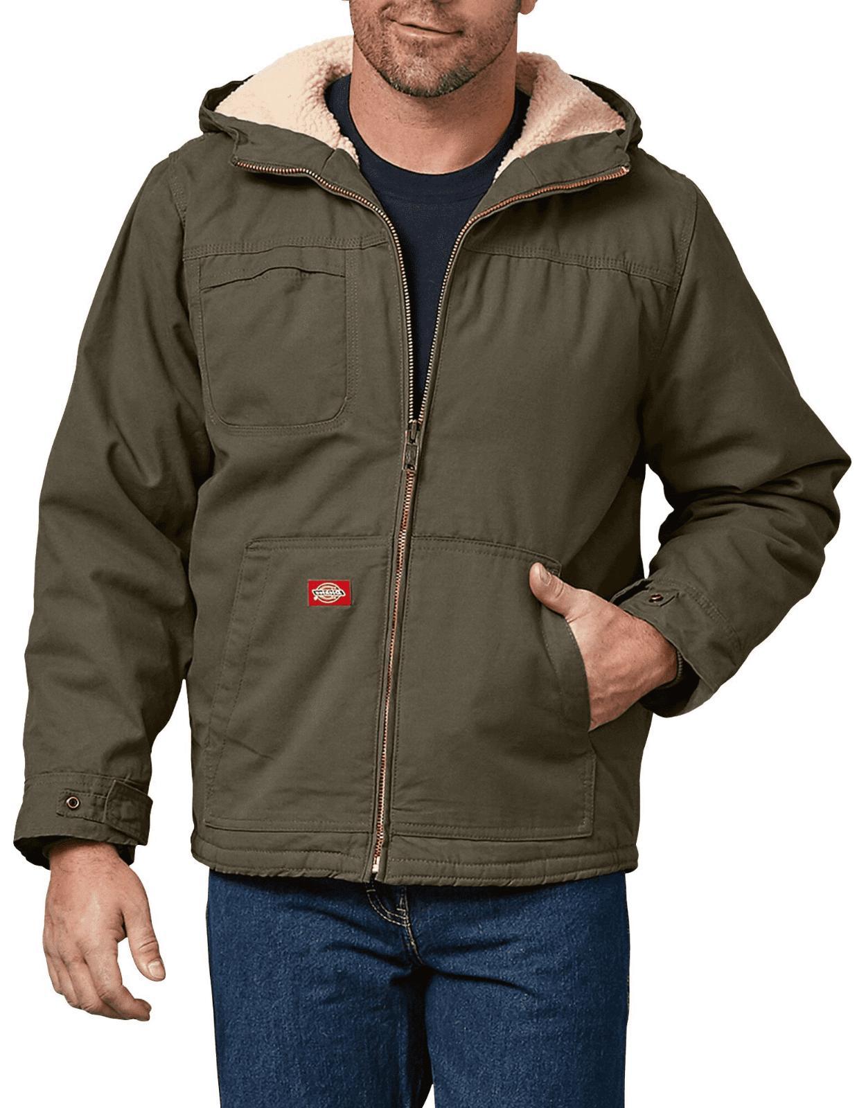 sanded duck sherpa lined hooded jacket men