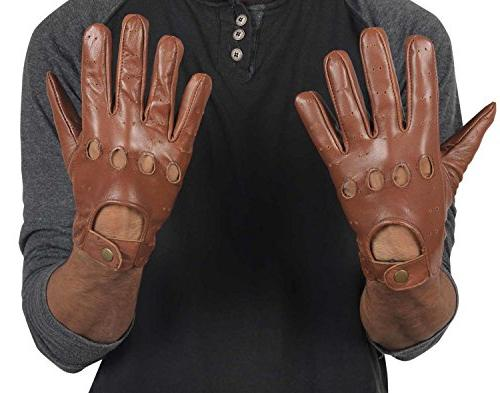tan brown leather motorcycle gloves