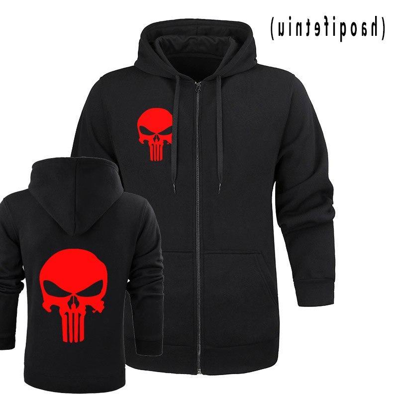 the punisher Skull <font><b>men</b></font> zipper fleece drake streetwear hoody m-<font><b>2XL</b></font>