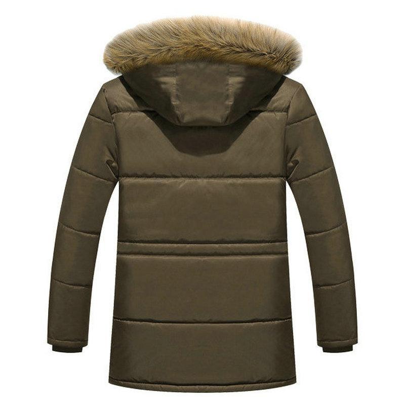 Thick <font><b>Winter</b></font> <font><b>Men</b></font> Fleece Fur Military Cargo <font><b>Mens</b></font> Overcoat
