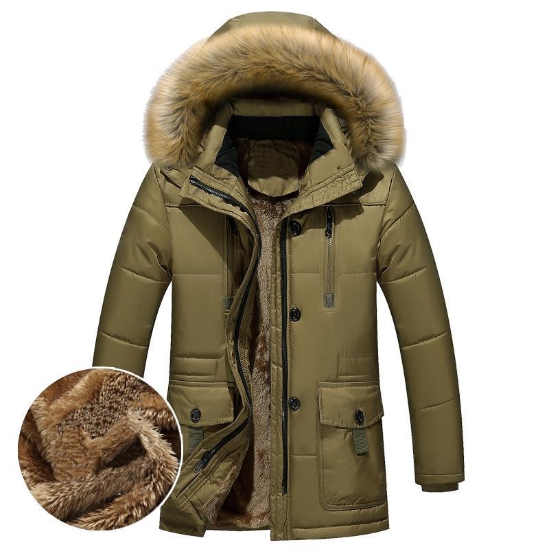 Thick Warm <font><b>Winter</b></font> <font><b>Men</b></font> Fleece Fur Hood <font><b>Men</b></font> Military Cargo Medium-long Overcoat