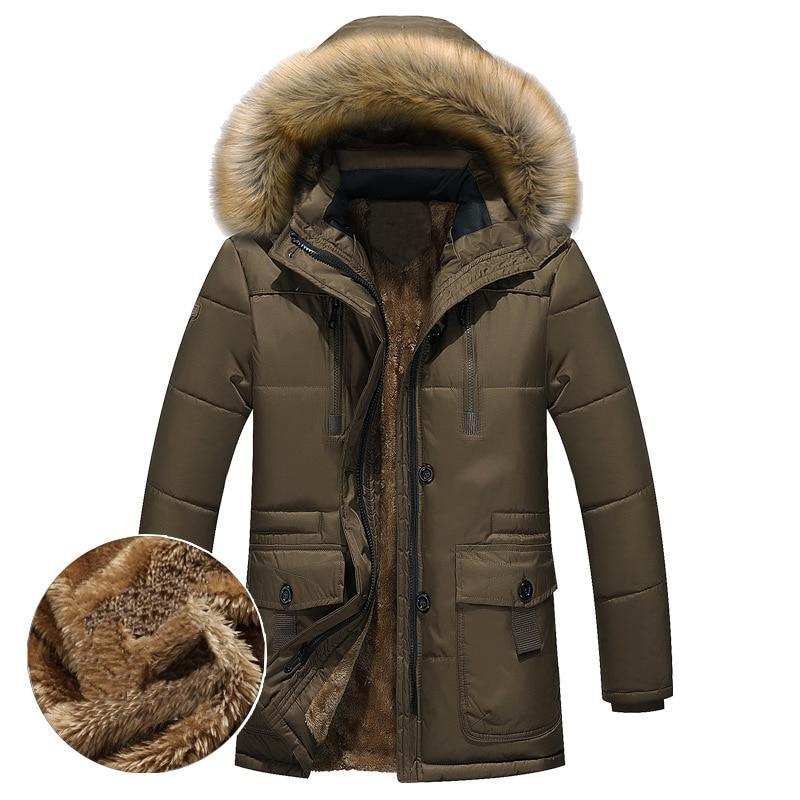 Thick Warm <font><b>Men</b></font> Fleece Fur Hood <font><b>Men</b></font> Jacket Military Medium-long <font><b>Mens</b></font>