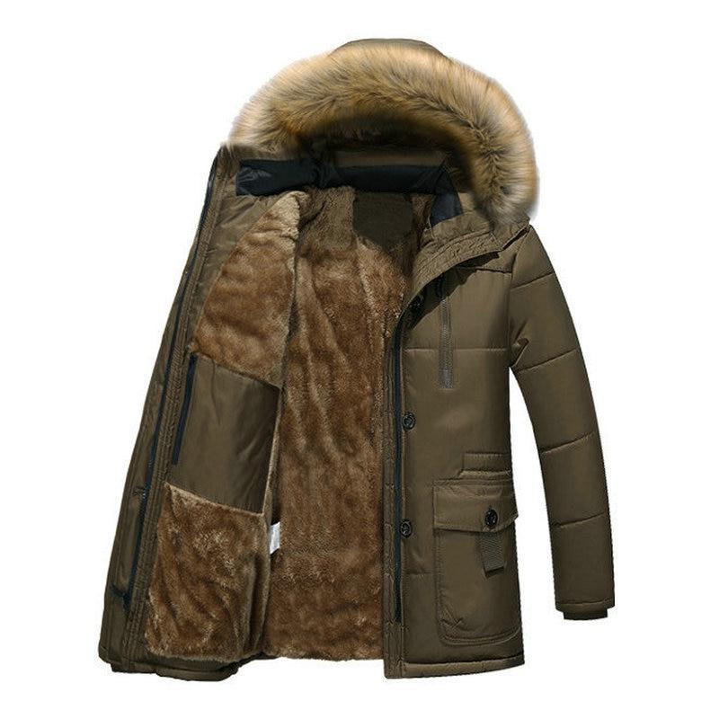 Thick Parka <font><b>Men</b></font> Fleece Hood <font><b>Men</b></font> <font><b>Winter</b></font> Military Cargo Overcoat
