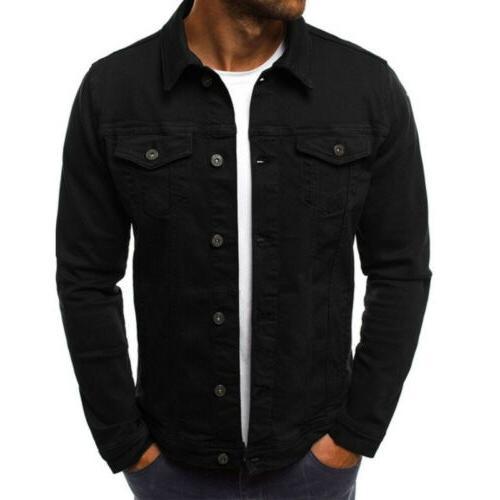 Men's Coat Denim Jacket Jean Cargo Single