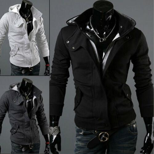 US Men's Winter Slim Hoodie Warm Hooded Sweatshirt Coat Jack