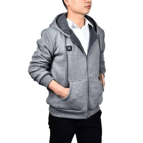 US Mens Heated Thermal Sweater Warm Fleece Outwear Coat Jacket Sweatshirt