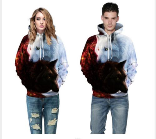 US Stock Fashion Men's hoodie Sweater Mans Hip-hop Wolf Jack