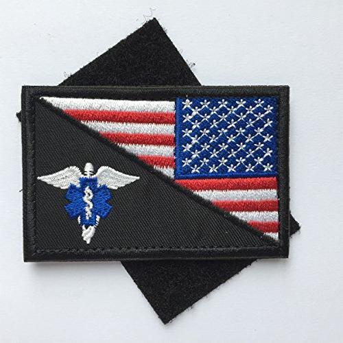 """SpaceCar Pieces USA Flag of Paramedic Tactical Morale EMT Badge Emblem Decorative 3"""" x 2"""""""