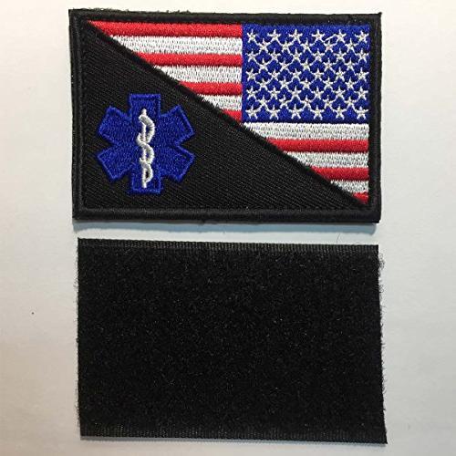"SpaceCar Pieces USA Flag w/Star of Life Paramedic Tactical EMT Badge Decorative 2"""
